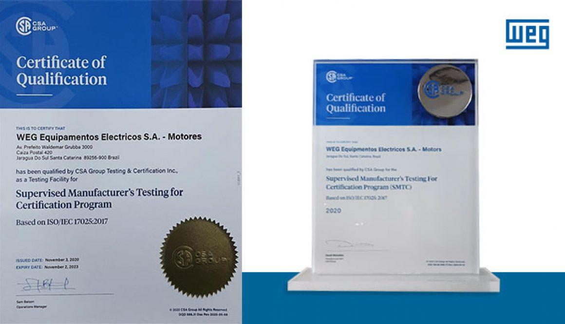 WEG receives CS A Qualification for Certification Program