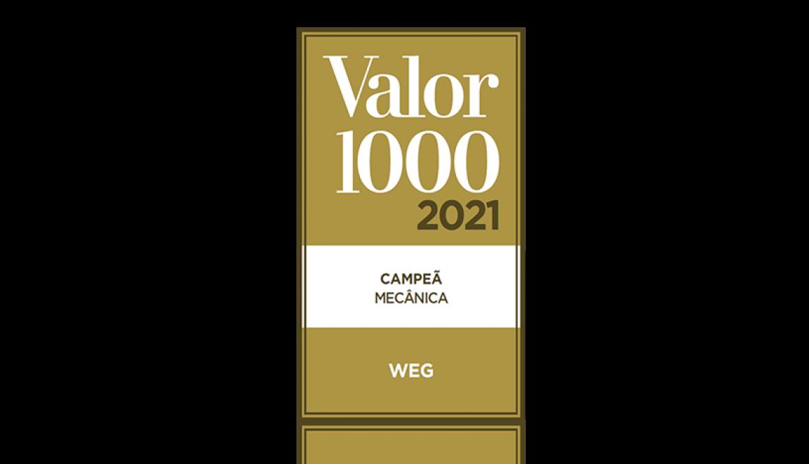 WEG is the winner of Valor 1000 award in the Mechanics sector